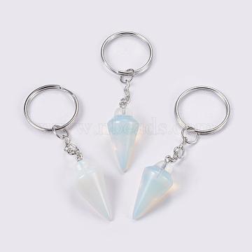 porte-clés opalite, avec les principaux anneaux de fer, platine, 78 mm, pendentif: 32x14 mm(KEYC-P041-A04)