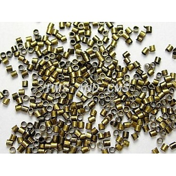 Brass Crimp Beads, Cadmium Free & Lead Free, Tube, Antique Bronze Color, Size: about 2.5mm long, 2.5mm wide, hole: 2mm, about 550pcs/10g(X-KK-S068-AB-LF)