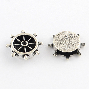 Tibetan Style Helm Alloy Slide Charm Rhinestone Settings, Cadmium Free & Lead Free, Antique Silver, 21x21x5mm, Hole: 12x3mm; fit for 2.5mm rhinestone; about 386pcs/1000g(TIBEB-Q064-65AS-NR)
