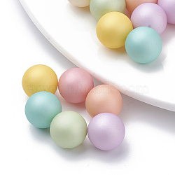 Perle en plastique environnementale d'imitation perle, haut lustre, Grade a, aucun perles de trou, mat, rond, couleur mixte, 14mm(X-MACR-S277-14mm-B)