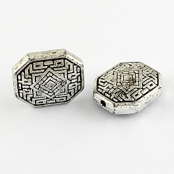 Octagon Antique Acrylic Beads, Antique Silver, 22x18x8mm, Hole: 2mm(X-PACR-S209-23AS)