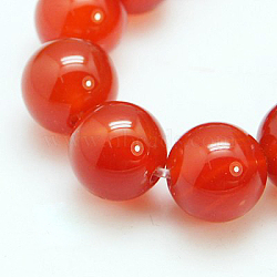 Natural Red Agate/Carnelian Beads Strands, Grade A, Dyed, Round, 10mm, Hole: 1mm; 19pcs/strand, 8 inches