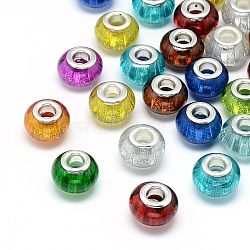 Perles européennes en alliage, Perles avec un grand trou   , avec des noyaux de laiton de ton argent, Rondelle de grandes perles de trou, couleur mixte, 13.5x9~9.5mm, Trou: 5mm(RPDL-S008-M)