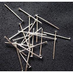 Épingles à tête de fer, couleur platine, taille: environ 0.7 mm d'épaisseur, 3.2 cm de long; environ 750 pièces / 100 g(X-HP3.2cm)