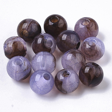 Transparent Crackle Acrylic Beads, Round, Lilac, 7x6mm, Hole: 1.8mm; about 2800pcs/500g(CACR-N003-04B-01)