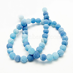 Natural Crackle Agate Beads Strands, Dyed, Round, Grade A, CornflowerBlue, 4mm, Hole: 0.8mm; about 93pcs/strand, 15inches