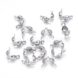 Caches noeuds en 304 acier inoxydable, calotte se termine, couverture de noeud à clapet, couleur inoxydable, 5x3mm, Trou: 1mm(X-STAS-G127-06P)