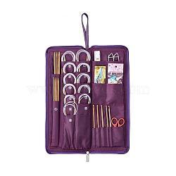 134pcs Bamboo Knitting Tool Kits, Mixed Color, 385x135x42mm(TOOL-R049-01)