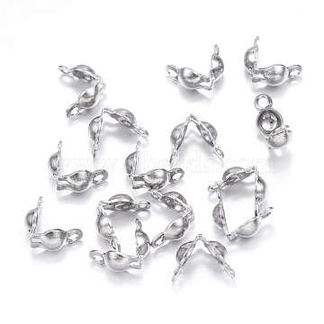 304 Stainless Steel Bead Tips, Calotte Ends, Clamshell Knot Cover, Stainless Steel Color, 5x3mm, Hole: 1mm(X-STAS-G127-06P)