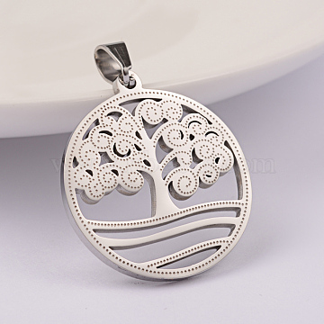 Stainless Steel Color Flat Round Stainless Steel Pendants