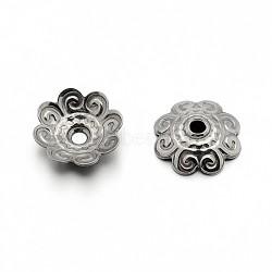 304 bouchons fleur de perles d'acier inoxydable, couleur inoxydable, 11x3mm, Trou: 1.5mm