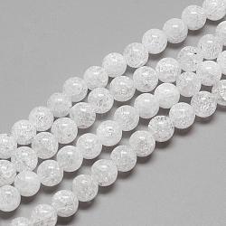 """Натуральный хрустящий кварц кристалл бисер прядь, круглые, 7~8 мм, Отверстие : 1 мм; около 56 шт / нитка, 15.7""""(G-R439-26-8mm)"""