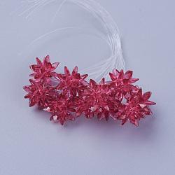 perles de verre tissées, fleur / sparkler, fait de charmes en oeil de cheval, mediumvioletred, 13 mm(EGLA-L014-21C)
