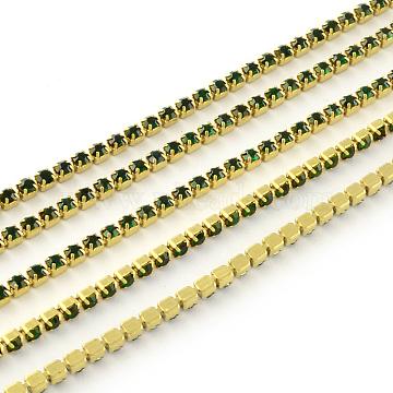 Nickel Free Raw(Unplated) Brass Rhinestone Strass Chains, Rhinestone Cup Chain, 2880pcs rhinestone/bundle, Grade A, Emerald, 2.2mm, about 23.62 Feet(7.2m)/bundle(CHC-R119-S6-06C-1)