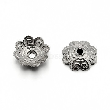 304 Stainless Steel Flower Bead Caps, Stainless Steel Color, 11x3mm, Hole: 1.5mm(X-STAS-E083-04P)
