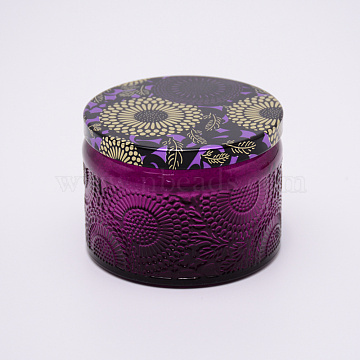 Glass Storage Box, Container for Jewelry, Aromatherapy Candle, Candy Box, with Slip-on Lid, Flower Pattern, Purple, 71x52mm(CON-WH0072-27B)