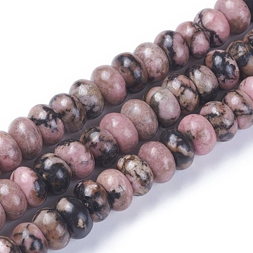 Natural Rhodonite Beads Strands, Rondelle, 8x4.5~5mm, Hole: 1mm; about 76~77pcs/strand, 15.1~15.3 inches(38.5~39cm)(G-F642-03)