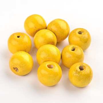 19mm Yellow Round Wood Beads