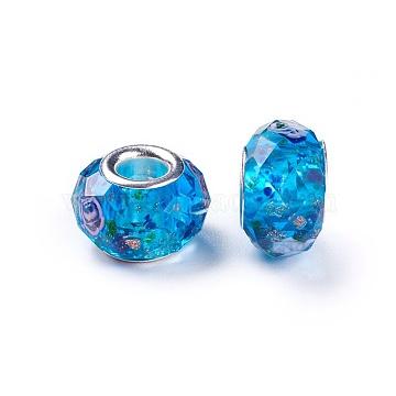 14mm DodgerBlue Rondelle Lampwork+Brass Core Beads