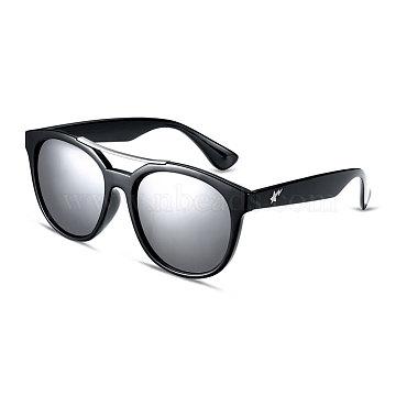 Fashion Star Style Women Summer Sunglasses, Black Plastic Frames and PC Space Lens, White Mercury, 4.9x14.5cm(SG-BB14532-4)