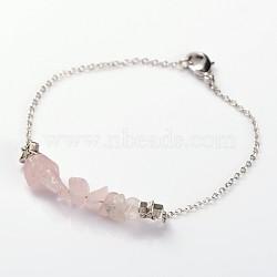 Bracelets de perles de pierre naturelle à la mode, avec des perles de style tibétain étoiles, chaînes en laiton et cuivre homard fermoirs griffe, quartz rose, 185mm(BJEW-JB01845-01)