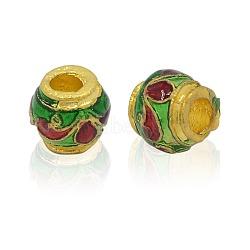 Perles d'émail en alliage, Style Indonésie imitation, rondelle, or, colorées, 7.5x7mm, Trou: 3mm(ENAM-J177-01G)