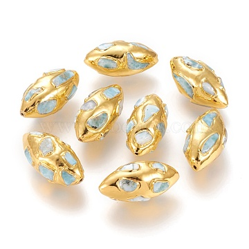 Golden Plated Brass Beads, with Natural Larimar Chips, Olive, 32x16.5x15.5~17mm, Hole: 1mm(G-P439-A01)