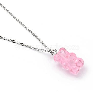 Bear Resin Pendant Necklaces(NJEW-JN03016-05)-3