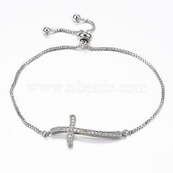 """Bracelets réglables en laiton avec zircone cubique à micro-pavé, bracelets bolo, croix, platine, 10-1/4"""" (260 mm); 1.2mm(BJEW-E317-43P)"""