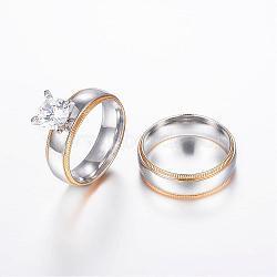 Couple anneaux en 304 acier inoxydable, avec zircons, or et acier inoxydable Couleur, 16.5~18.9mm(RJEW-P057-11)