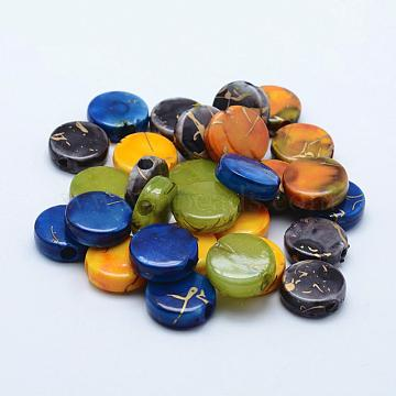 Drawbench Acrylic Beads, Spray Painted, Flat Round, Mixed Color, 16.5x6mm, Hole: 3.5mm; about 500pcs/500g(MACR-K331-27)