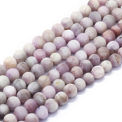 Natural Kunzite Beads Strands, Frosted, Round, 6mm, Hole: 1mm; about 63~70pcs/Strand, 15.35''(39cm)(G-E561-06-6mm)
