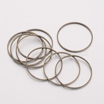 Brass Linking Rings, Nickel Free, Antique Bronze, 25x1mm(X-EC18725mm-NFAB)
