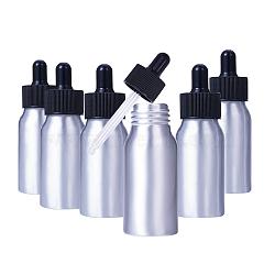 bouteilles de compte-gouttes en verre vide en aluminium, pour les huiles essentielles produits chimiques de laboratoire d'aromathérapie, noir, 9.9x3.2 cm; capacité: 30 ml; 8 pcs / boîte(MRMJ-PH0001-17)