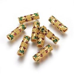 Perles tubulaires en alliage, avec l'émail, colorées, 17x5.5mm, Trou: 2.5mm(PALLOY-I129-01)