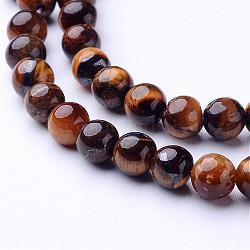 Chapelets de perles d'œil de tigre naturel, grade AB, rond, 6mm, trou: 0.8mm; environ 65 pcs/chapelet, 15