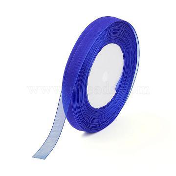 Organza Ribbon, Blue, 5/8 inch(15mm); 50yards/roll(45.72m/roll), 10rolls/group, 500yards/group(457.2m/group).(ORIB-15mm-Y040)