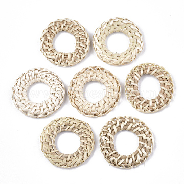 Handmade Reed Cane/Rattan Woven Linking Rings, For Making Straw Earrings and Necklaces, Ring, AntiqueWhite, 38~41x5~6mm, Inner Diameter: 17~20mm(X-WOVE-T006-063)