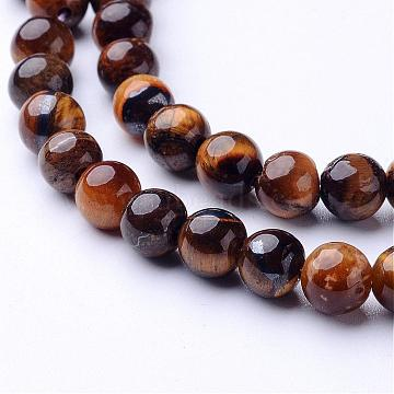 Natural Tiger Eye Beads Strands, Grade AB, Round, 6mm, Hole: 0.8mm, about 65pcs/strand, 15 inches(X-G-GSR6mmC014-AB)