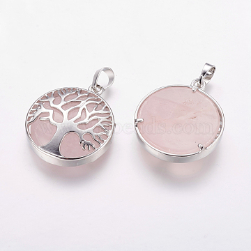 Natural Rose Quartz Pendants, with Brass Findings, Platinum, Flat Round with Tree, 31x27x6.5~7mm, Hole: 5x8mm(X-G-E388-02P)