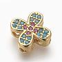 10mm Colorful Cross Brass+Cubic Zirconia Beads(X-ZIRC-E152-49G-RS)