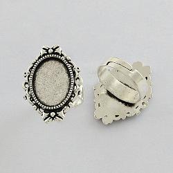 Supports réglables de bague de doigt en fer de vintage, sans plomb et sans cadmium, argent antique, 17x5 mm; plateau ovale: 18x13 mm(X-PALLOY-Q300-10AS-NR)