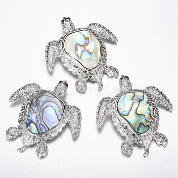 Abalone Shell/Paua ShellPendants, with Brass Findings, Turtle, Platinum, 49.5x45x9.5mm, Hole: 4x7.5mm(SSHEL-F292-02)