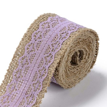 Burlap Ribbon, Hessian Ribbon, Jute Ribbon, with Lace, for Jewelry Making, Lilac, 1-1/2 inch(38mm); about 2m/roll, 24rolls/bag(OCOR-S126-03)