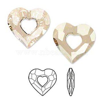Austrian Crystal Pendants, 6262, Crystal Passions, Faceted Miss U Heart Pendant, 001GSHA_Crystal Golden Shadow, 26x26x7mm(6262-26mm-001GSHA(U))