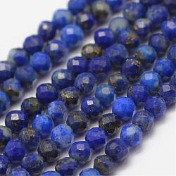 Natural Lapis Lazuli Beads Strands, Faceted, Round, 2mm, Hole: 0.5mm; about 178pcs/strand, 15.3''(39cm)
