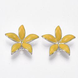 Liens en laiton piquets, pour perle à moitié percée, avec l'émail, fleur, Platine plaqué réel, or, 23x24x5~6mm, trou: 1~2 mm; broches: 0.8 mm(KK-S350-387B-P)