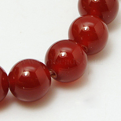 Natural Red Agate Beads Strands, Dyed, Grade A, Round, 6mm, Hole: 0.8mm, about 62pcs/strand, 14.8inches