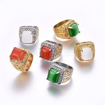Mixed Color Stainless Steel+Glass Finger Rings