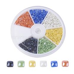 6 цветные перламутровые фарфоровые кабошоны ручной работы, квадратный, разноцветные, 4x4x1.4 мм, о 170~175шт / comparment, 1020~1050 шт / коробка(PORC-JP0001-04)